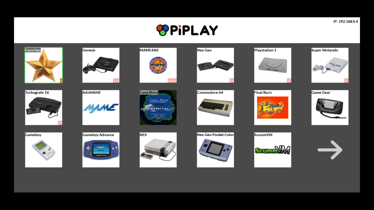 PiPlay Screenshot Raspberry Pi