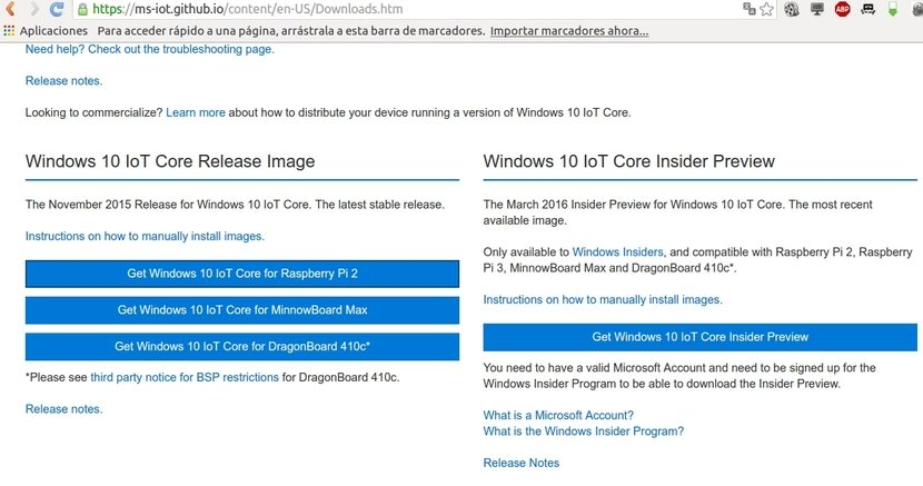 Web de descarga Windows 10 IoT Core